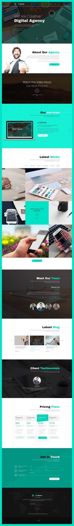 TheForce is a wonderful #PSD template for stunning digital #agencies, creative business, freelancer portfolio showcase website download now➩  https://themeforest.net/item/theforce-digital-agency-personal-app-landing-psd-template/19484555?ref=Datasata