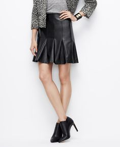 FAUX LEATHER FLOUNCE SKIRT