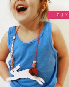 Celina from Petit a Petit and Family Blog shares a DIY Animal Necklace tutorial for Kids!