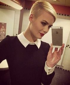 Blonde Pixie Hair Shaved Side