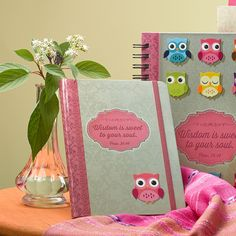 Hardcover Journal  Wisdom is Sweet  Pink and Brown  - Proverbs 24:14 Owls  Our writing journals are perfect for gift-giving, with a presentation page in the front.  * 5 x 7 * 160 Lined Pages * Elastic Band Closure * Lay-Flat Binding * Embossed & Spot Varnished Cover Design * Presentation Page for Gift-Giving   PRICE: R100 per Journal.