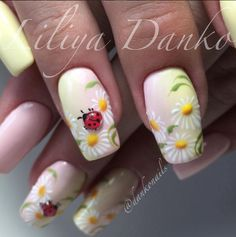 Here is Daisy Nail Designs Idea for you. Daisy Nail Designs daisy nails nail art anita nailpolis museum of nail art. Spring Nail Art, Spring Nails, Summer Nails, Spring Art, Cute Nails, Pretty Nails, Ladybug Nails, Daisy Nails, Daisy Nail Art