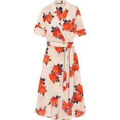 GANNI Harness floral-print silk crepe de chine wrap dress ($440) ❤ liked on Polyvore featuring dresses, pastel pink, floral print dress, floral dresses, tie dress, rose dress and multi-color dresses