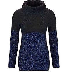 Patricia-Dini-Damen-Pullover-Rollkragen-blau-schwarz-Mohair-Wolle-Neu-Gr-40