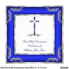 Boy First Holy Communion Royal Blue Silver White Invitation