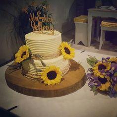 L&N sunflower rustic wedding cake   τούρτα γάμου