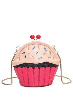 Novelty Cupcake Shaped Crossbody Bag - PINK