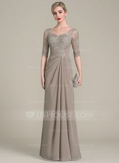 A-Line/Princess V-neck Floor-Length Ruffle Zipper Up Sleeves 1/2 Sleeves No Taupe General Plus Chiffon Lace Height:5.7ft Bust:33in Waist:24in Hips:34in US 2 / UK 6 / EU 32 Mother of the Bride Dress