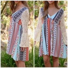 Floral patchwork print boho dress Shirtdress Mixed boho print tunic dress with flare lace sleeves best seller only available in lighter version in right side of cover photo . Small will fit medium This listing is for Darker combo Fuschia . Striped Pastel Shirt dress Vivacouture Dresses Long Sleeve