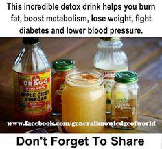 Ingredients  1 glass of water (12-16 oz.) 2 Tbsp. Apple Cider Vinegar 2 Tbsp. lemon juice 1 tsp. cinnamon 1 dash cayenne pepper (optional) 1 packet White Stevia Powder (Optional)  Directions Blend all ingredients together