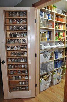 Organized pantry~ love the door shelves ~ pantry envy
