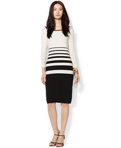 Lauren Ralph Lauren Long-Sleeve Striped Sweater Dress - Dresses - Women - Macy's
