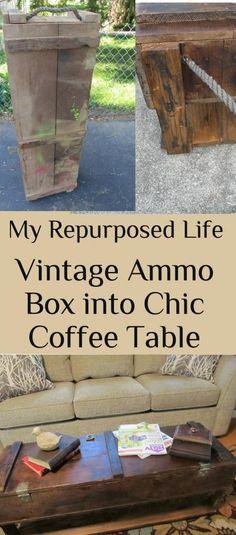 MyRepurposedLife.com  Old vintage ammo box repurposed into a chic coffee table.