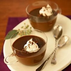 Diabetic-friendly Chocolate-Amaretto Pots de Crème; delicious treat for my friends who have to watch their sugar intake!