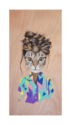 WOOD CAT I  (Acrylic on wood. Rebeca Losada, 2012)