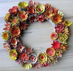 egg carton flowers -- http://janeville.blogspot.com/2012/12/tiny-tutorial-egg-carton-flower-wreath.html