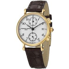 Frederique Constant Women's FC-291A2R5 'Classics' White Dial Brown Strap Watch - Overstock Shopping - Big Discounts on Frederique Constant More Brands Women's Watches