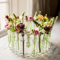 circular test tube center piece vase by marquis & dawe & notonthehighstree& The post Circular Test Tube Center Piece Vase appeared first on Dekoration. Vase Centerpieces, Wedding Centerpieces, Wedding Table, Wedding Decorations, Table Decorations, Wedding Ideas, Deco Floral, Arte Floral, Floral Design