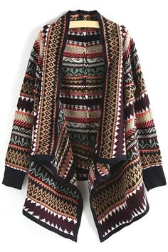 Ethnic Pattern Turn Down Collar Long Sleeve Cardigan