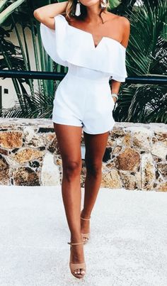 3aa6a249db4d7 Pretty off the shoulder white romper. White Jumpsuit, White Romper Outfit,  Classy Outfits