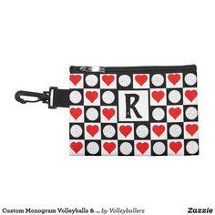 Custom Monogram Volleyballs & Hearts Clip-On Bag #custom #monogram #volleyball