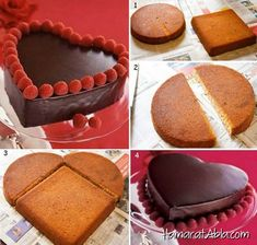 Creative Ideas - DIY Heart-Shaped Cake without a Heart-Shaped Pan - Tartas - Gateau Food Cakes, Cupcake Cakes, Heart Shaped Cakes, Heart Cakes, Valentines Day Desserts, Valentine Cake, Valentine Heart, Comida Diy, Cake Recipes