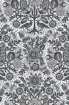 Mika-tapetti Print Wallpaper, Black Wallpaper, Black Bedding, Fantasy World, Black House, Slipcovers, Damask, Icon Design, Printing On Fabric