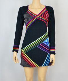 Love this Black & Green Cross-Stripe Sheath Dress by Mystik Lotus on #zulily! #zulilyfinds