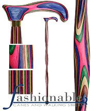 Colortone Cane - Twist - Hot Pink Derby Walking Cane With Laminated Birchwood Shaft and Brass Collar