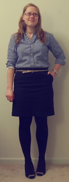 striped shirt + black skirt