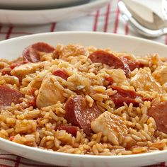 Jambalaya, a one-pot main dish from Louisiana, combines rice with chicken and sausage.