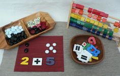 Numeracy set using wooden number chips and glass pebbles from Homemade Rainbows ≈≈ http://www.pinterest.com/kinderooacademy/math-numbers-shapes-patterns/