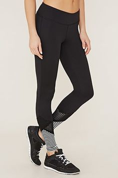 39528a9b74192 Active Mesh Stripe-Hem Leggings Athleisure Outfits, Active Wear For Women,  Forever 21