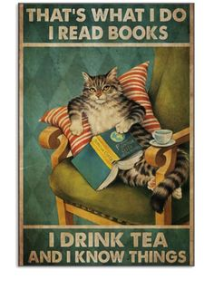 Cute Cats, Funny Cats, Funny Animals, Cute Animals, Crazy Cat Lady, Crazy Cats, I Love Books, Books To Read, Tea And Books