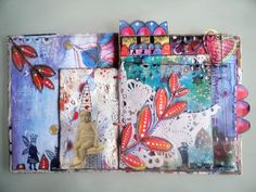 art journal mixed media pages 5 et 6  by Francoise MELZANI, via Flickr