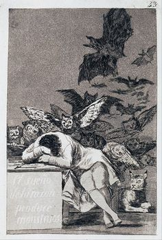 'The Sleep of Reason Produces Monsters' is an etching by painter Francisco Goya in 1799 of the artist sleeping while nightmarish creatures fly above him. Francisco Goya, Rembrandt, Alberto Giacometti, Ouvrages D'art, Spanish Artists, Gustav Klimt, Old Master, Art Reproductions, Art Google
