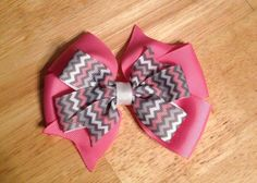 Pink/Grey Chevron Layered Bow $4.00 www.facebook.com/treasuresbyhand