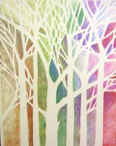 Inspiration: make tree block print, paint within? This one is: Linden Tree ACEO - pastel colors - 2.5 x 3.5 inches. $5.00, via Etsy.