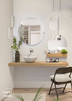 An alternative make-up table made of solid material # Oak, Perfect as a bathroom furniture. # Bathroom furniture # Oak Source by tesssssje Bad Inspiration, Bathroom Inspiration, Modern Kids Lighting, White Bathroom, Small Bathroom, Bathroom Interior Design, Bathroom Designs, Fashion Room, Bathroom Furniture