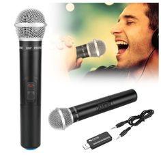 Wireless Microphone, Fifine USB Microphone UHF 926.5MHz with Sound Card For Conference, Karaoke, Chatting, Recording, YouTube, Family Party, Children Spell Learning, 2016 Amazon Hot New Releases Live Sound & Stage  #Musical-Instruments