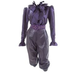 Yves Saint Laurent Leather Knee Breeches, Silk Blouse and Belt   From a collection of rare vintage suits, outfits and ensembles at https://www.1stdibs.com/fashion/clothing/suits-outfits-ensembles/