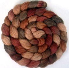 Handpainted BFL Tussah Silk Wool Roving - 4 oz. CINNAMON BUNS - Spinning Fiber. $19.00, via Etsy.
