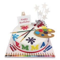 Delicious Birthday Cake in the shape of an artist palette. Short notice and free delivery. Music Birthday Cakes, Candy Theme Birthday Party, Boy Birthday, Happy Birthday, Art Party Cakes, Artist Cake, Artist Birthday, Gift Cake, Birthday Cake Decorating