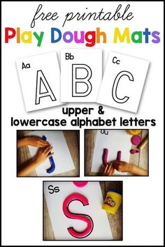 Free printable play dough mats! Includes both upper and lower case letters. Great hands on activity for preschoolers! Preschool Learning, Early Learning, Preschool Activities, Alphabet Activities, Classroom Activities, Literacy Games, Alphabet Worksheets, Classroom Ideas, Printable Alphabet Letters