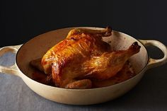 How to Get Crispy Skin on Chicken — Prick the skin of the bird all over with a needle. Just do it enough to score the skin, piercing it at an angle, giving the fat an exit and rendering the skin all the crispier.