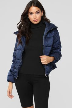 On The Cold Side Puffer Jacket - Navy – Fashion Nova Puffer Jacket With Fur, Navy Blue Bomber Jacket, Bomber Jacket Outfit, Puffer Jackets, Winter Jackets, Bubble Jacket Outfit, Coats For Women, Clothes For Women, Autumn Winter Fashion