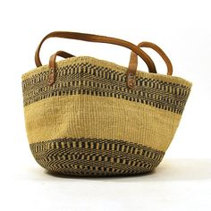 80s Woven Sisal Bucket Bag with Leather Shoulder by SpunkVintage, $40.00
