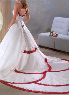 Wedding dress with red accents!