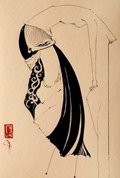 Hayv Kahraman. Untitle, sumi ink on paper, 18x25cm, 2006