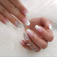 Glitter nail art designs have become a constant favorite. Almost every girl loves glitter on their nails. Have your found your favorite Glitter Nail Art Design ? Beautybigbang offer Glitter Nail Art Designs 2018 collections for you ! Cute Summer Nail Designs, Cute Summer Nails, White Nail Designs, Nail Art Designs, Nails Design, Summer French Nails, Funky Nail Designs, Gorgeous Nails, Pretty Nails